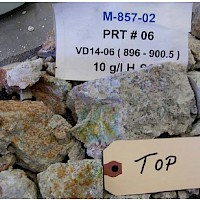 Leached Residue Core Test Sample DDH 14-06 Rock Top (Note additional oxide copper mineralization on fractures)